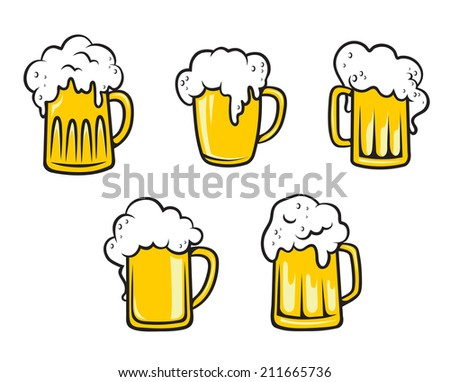 Glass pint tankards of frothy beer isolated on white background. Suitable for beverage, oktoberfest and restaurant logo design  - stock vector