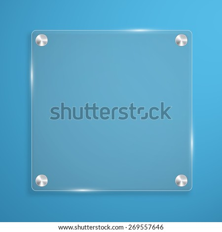 Glass plate background with rivets for text. Vector illustration. - stock vector