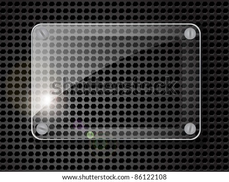 Glass plate on black background. Vector illustration. - stock vector