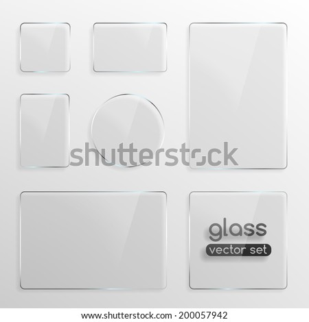 Glass plates set, square, rectangle and round. Photo realistic vector illustration - stock vector