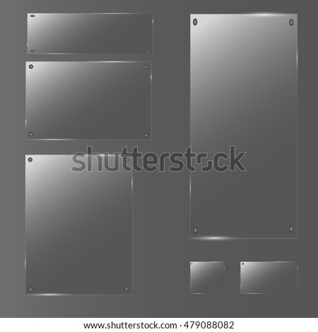 Glass plates set. Vector acrylic banners on transparent background.