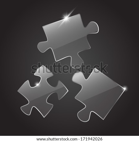 Glass 3 puzzle pieces VECTOR - stock vector