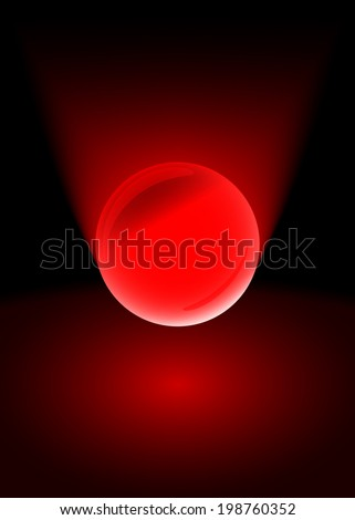 Glass red ball on black background. Vector - stock vector