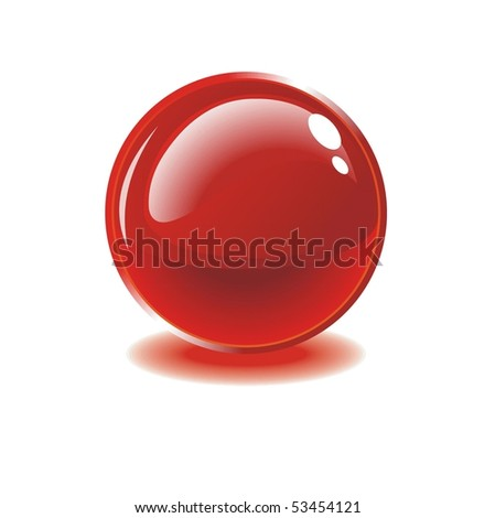 Glass red ball on white background. Vector - stock vector