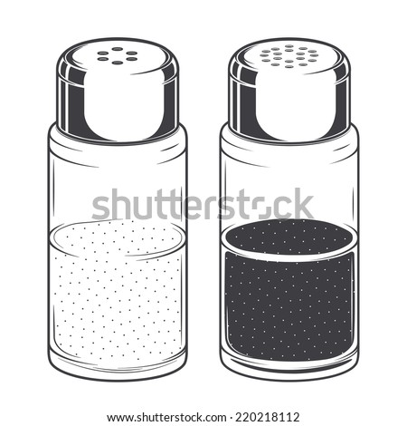 Glass salt and pepper shakers isolated on a white background. Monochromatic Line art. Retro design. Vector illustration. - stock vector