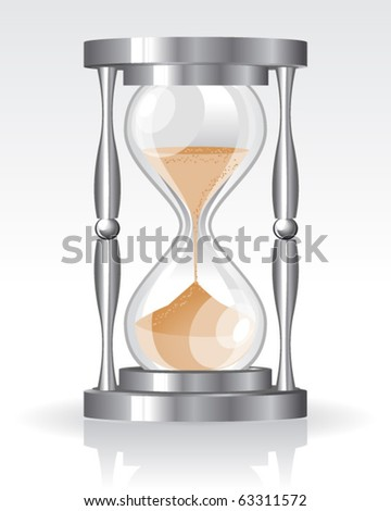 Glass sand clock - stock vector