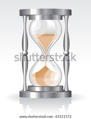 Glass sand clock - stock vector