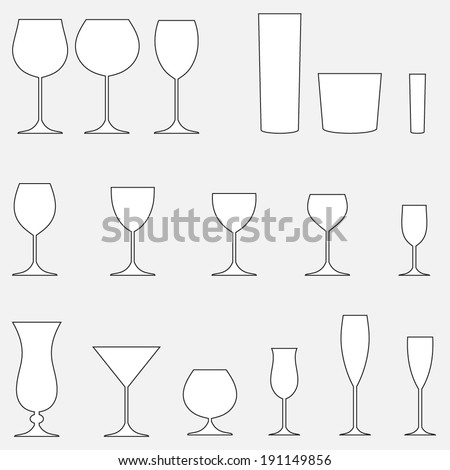 Glass set. Stemware for a different drinks. Vector silhouettes. - stock vector