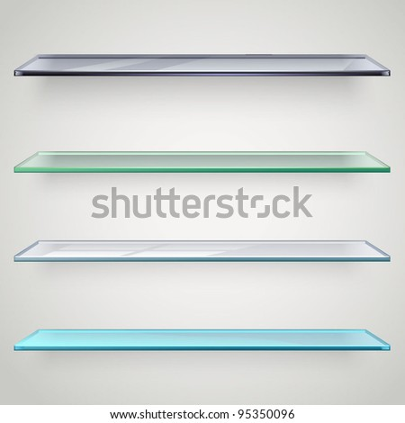 glass shelves - stock vector