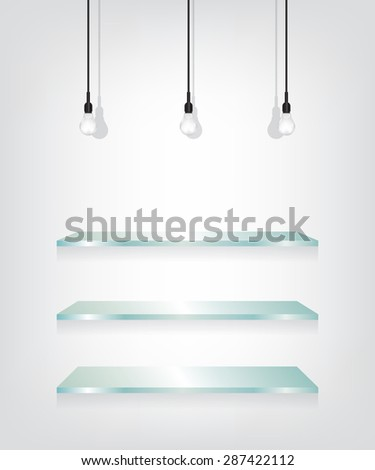 Glass shelves and bulb - stock vector