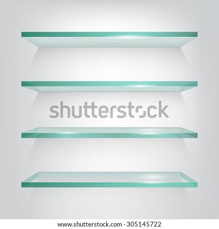 Glass shelves on light grey background. Vector eps10 illustration - stock vector