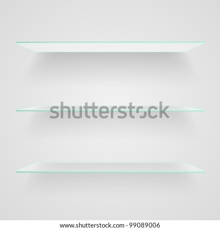 Glass shelves on light grey background. Vector eps10 illustration - stock vector