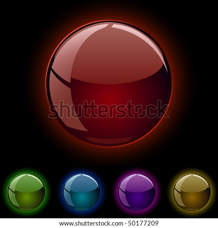 Glass shiny glowing spheres isolated on black background. - stock vector