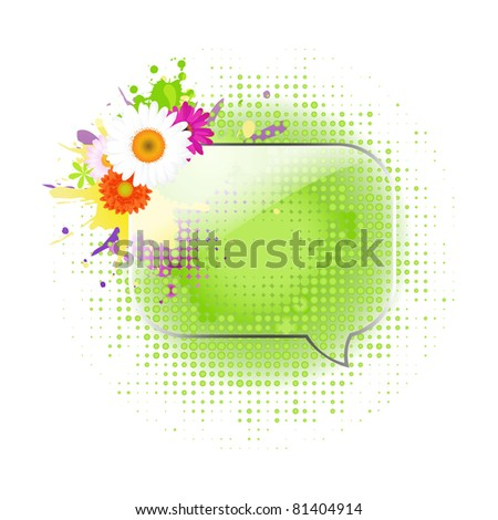 Glass Speech Bubbles With Gerber, Isolated On White Background, Vector Illustration - stock vector