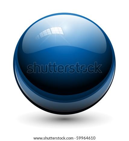 Glass sphere, ball blue, vector. - stock vector