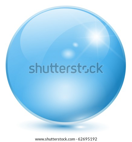 Glass sphere blue, vector. - stock vector