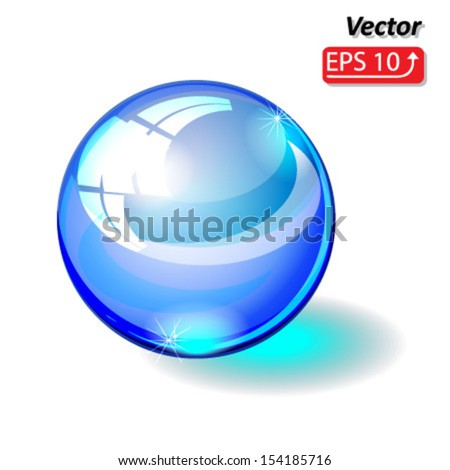 glass sphere, glass ball blue isolated on white background vector - stock vector