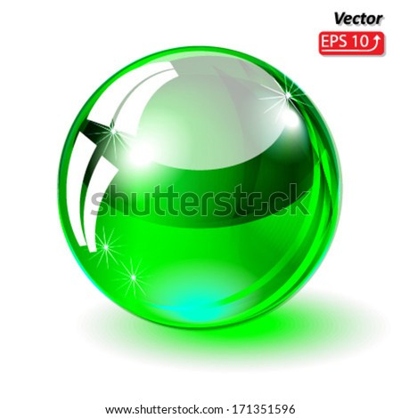 glass sphere, glass ball green, isolated on white background vector - stock vector