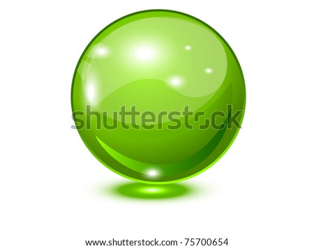 Glass sphere green, 10eps - stock vector