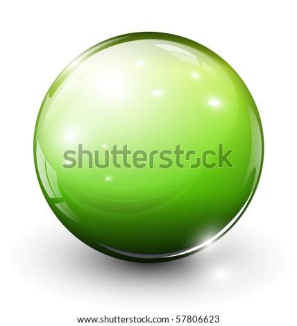 Glass sphere green, vector illustration. - stock vector