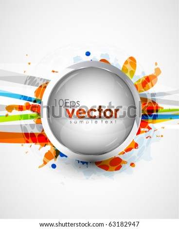 Glass sphere on colorful abstract background - stock vector