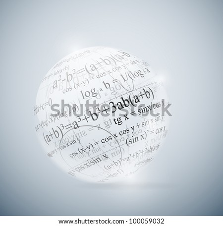 Glass sphere with mathematical formulas. Eps 10 - stock vector