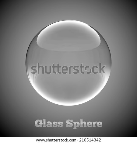 Glass sphere with reflections. Vector illustration. - stock vector