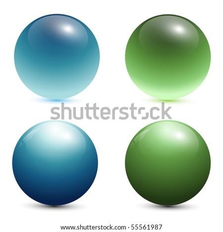 glass spheres, balls, 3d vector illustration. - stock vector