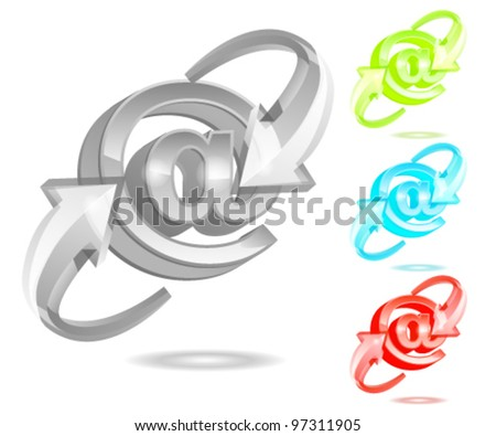Glass style AT - stock vector