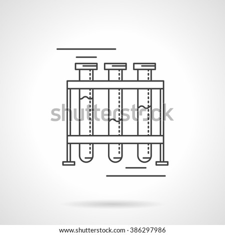 Glass test tubes sitting in a rack or stand. Laboratory glassware. Chemistry, biology  and medicine research. Science and education. Flat line vector icon. Single design element for website, business. - stock vector