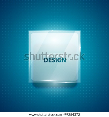 Glass transparent ad square screen banner - stock vector