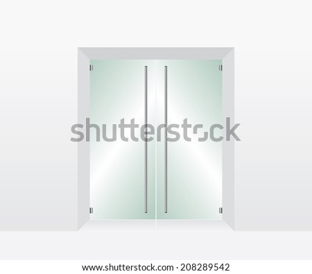 Glass transparent door - stock vector