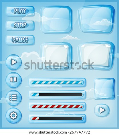 Glass Transparent Icons Set For Ui Game/ Illustration of a set of cartoon design ui glass and crystal see through glossy elements including banners, signs, buttons, load bar and app icon for tablet pc - stock vector