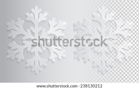 Glass transparent snowflakes. Christmas vector illustration eps10. - stock vector