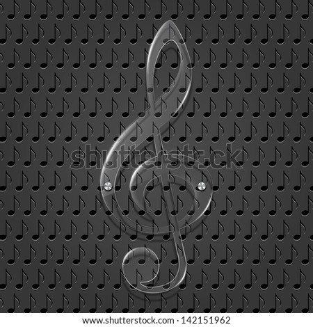 Glass treble clef on metal texture background. Vector illustration - stock vector