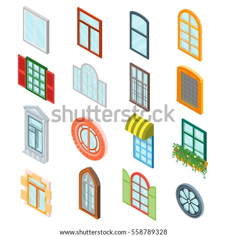 Glass Windows Set Decoration Building Construction Element Urban Street Architecture Isometric View Vector Illustration