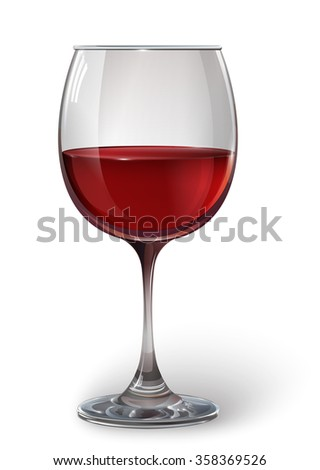 Glass wine glass with red wine. A realistic, transparent, vector. - stock vector