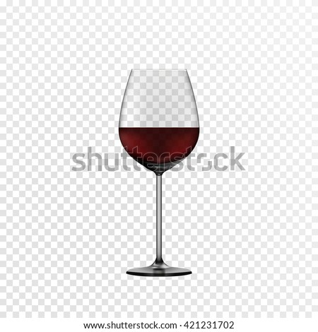 Glass wine glass with red wine. The effect of transparency for any color background. Vector eps10. - stock vector