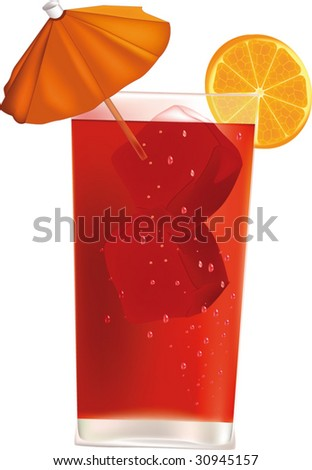 glass with alcohol ice an orange and a parasol - stock vector