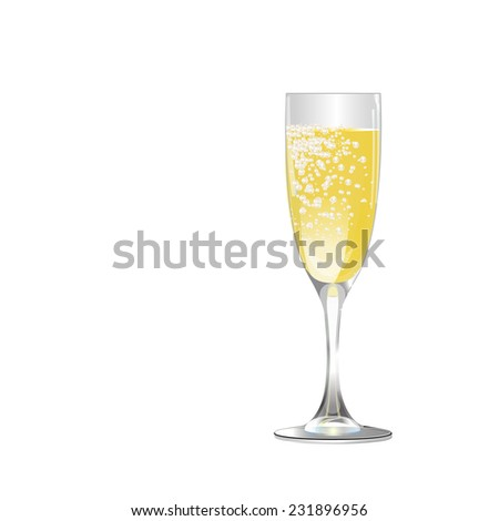 glass with drink and bubbles - stock vector