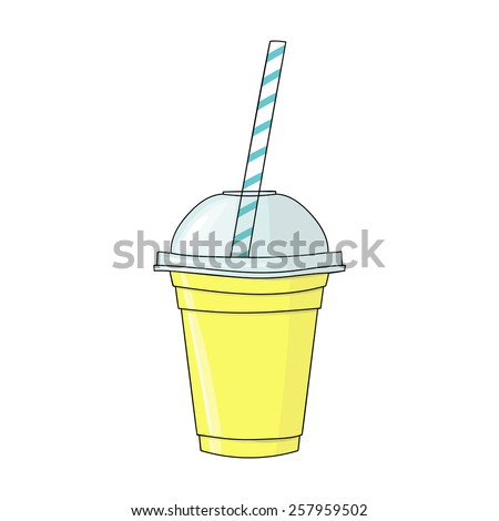 Glass with smoothie. Natural bio drink, healthy organic food. Hand drawn vector illustration in doodle style isolated on white background. - stock vector