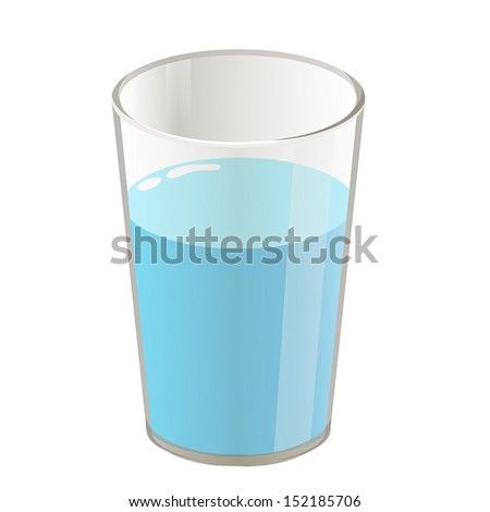 glass with water isolated illustration on white background - stock vector