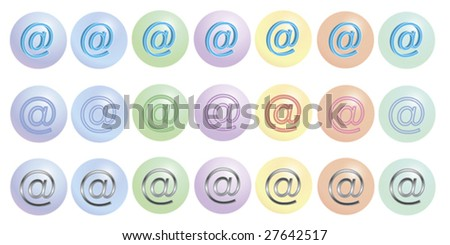 glassbuttons in many colors with the at-sign