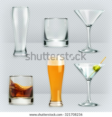 Glasses, alcohol drink vector icon set - stock vector