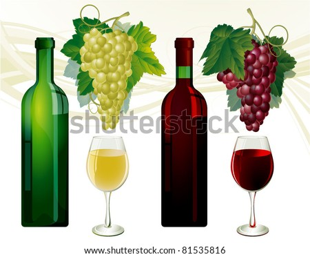 Glasses and bottles of white and red wine, grapes over white. Vector illustration. - stock vector