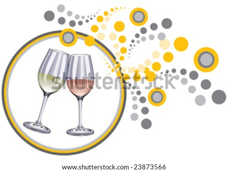 glasses and decorative background - stock vector