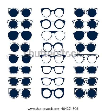 Glasses and Geek sunglasses vector set fashion hipster collection. Big vector set of icons of different shapes sunglasses in trendy flat style. Illustration, Black, isolated on white background - stock vector