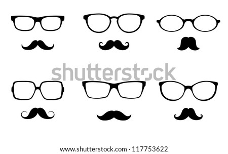 glasses  and mustache vector set - stock vector