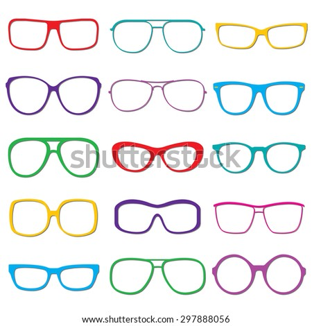 Glasses and sunglasses outline set isolated on white background. Colorful sunglasses silhouettes. Vector illustration. - stock vector