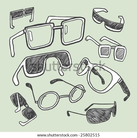Glasses doodles collection. Vector illustration. - stock vector